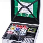 Esecure :Magnifique Set de Poker de qualité de 600 pièces composé de 5 dés, 6 jeux de cartes, un brasseur de carte blocable, ainsi que d'un tapis réversible GRATUIT pour Poker et Black jack.
