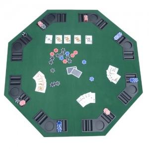 TABLE PLATEAU DE POKER CASINO OCTOGONALE PLIABLE POUR 8 JOUEURS 120CM NEUF 01