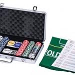 eSecure : Set Poker professionnelle de 300 jetons livré avec une mallette en Aluminium, 2 Deck de cartes, Des, et bouton dealer