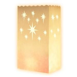 Lot de 10 sac à bougie (étoile aigue) lueur de sol blanc fête sachet pour bougies effet luminaire décoration illuminer terrasse soirée en plein air mariage de rêve romantique photophore en papier non inflammable farilitos luminarias lanterne luminaria weiß:étoile aigu_8